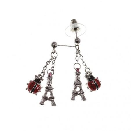 Boucles d'oreilles Tour Eiffel et coccinelle