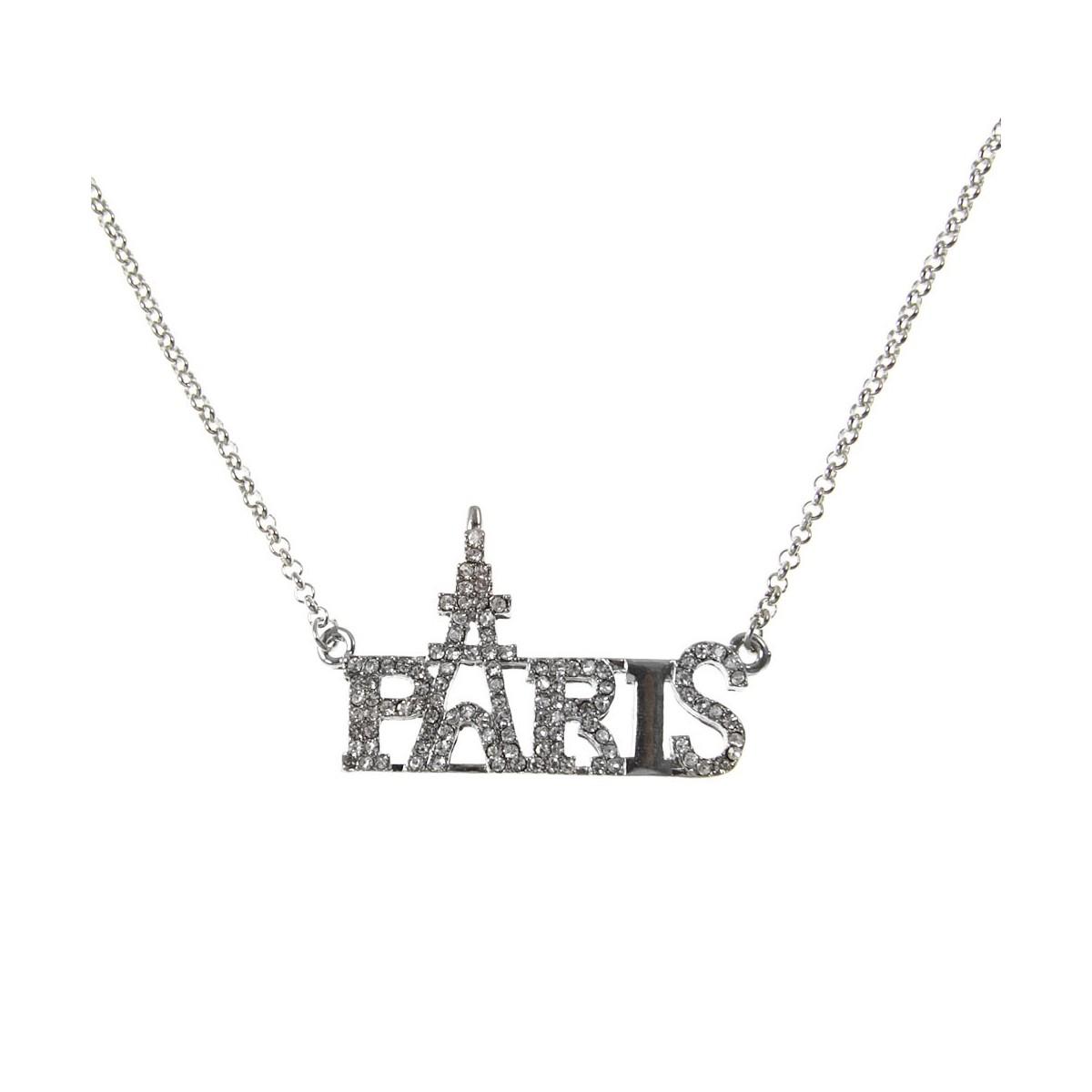 Collier fin Paris strass