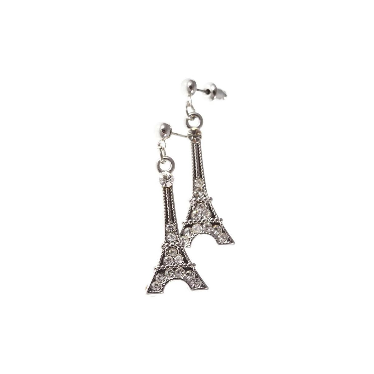BP007 argent Boucles d'oreilles Tour Eiffel strass