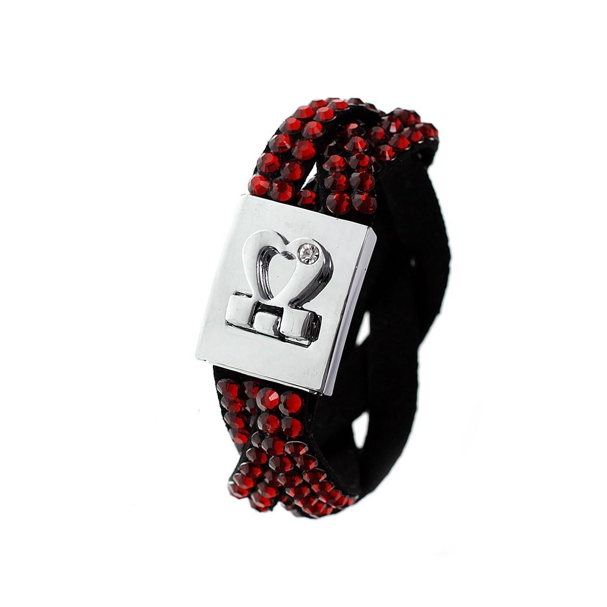 B218 rouge Bracelet tressé attache coeur