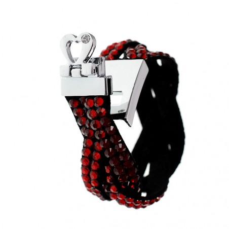 Bracelet strass attache coeur
