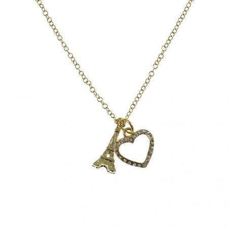 Collier fin Tour Eiffel et coeur strass