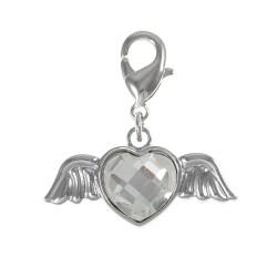 Charm ailes coeur strass