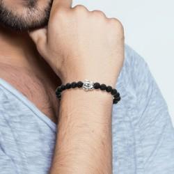 Bracelet perles agathe noir...