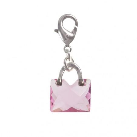 Charm sac à main rose cristal So Charm plaqué argent 3 microns