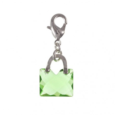 Charm sac à main vert cristal So Charmn plaqué argent 3 microns