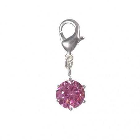 Charm cristal rose en argent 3µm