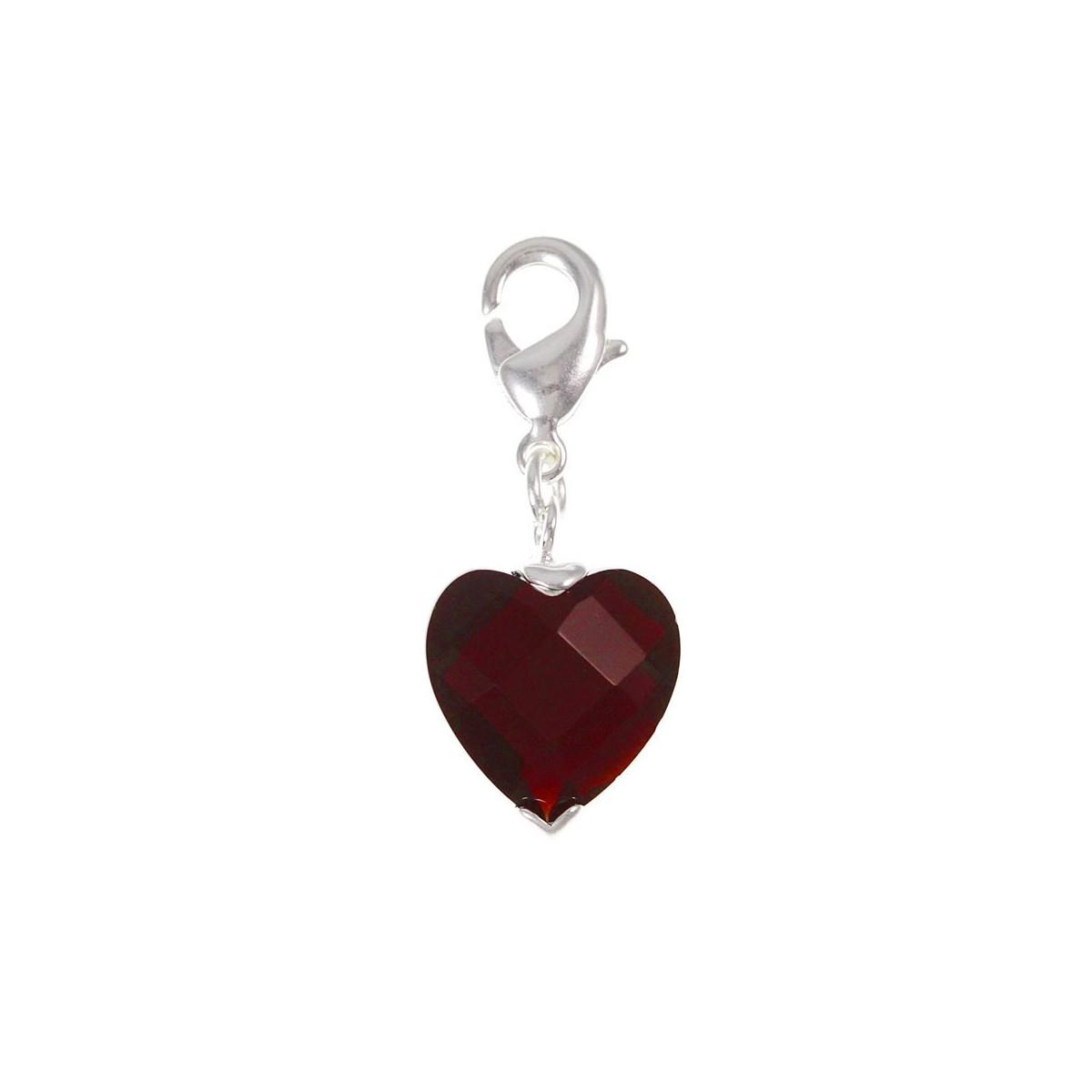 Charm coeur rouge grenat foncé cristal So Charm plaqué argent 3 microns