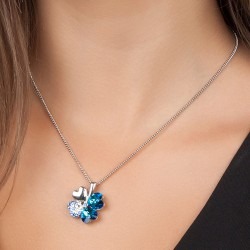 Collier trèfle bleu BR01...