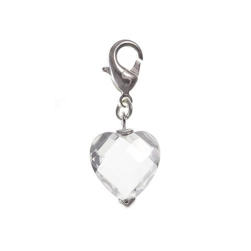 Charm coeur cristal So Charm plaqué argent 3 microns