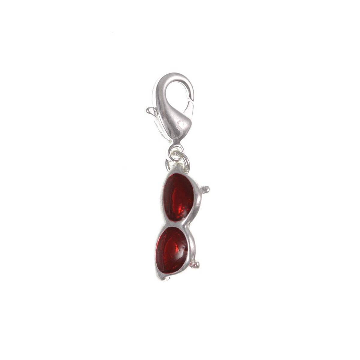Charm lunette rouge So Charm plaqué argent 3 microns