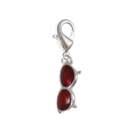 Charm lunette rouge argent 3μm