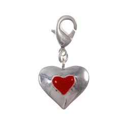 Charm coeur rouge argent 3μm