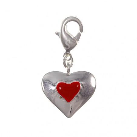 Charm coeur rouge So Charm plaqué argent 3 microns