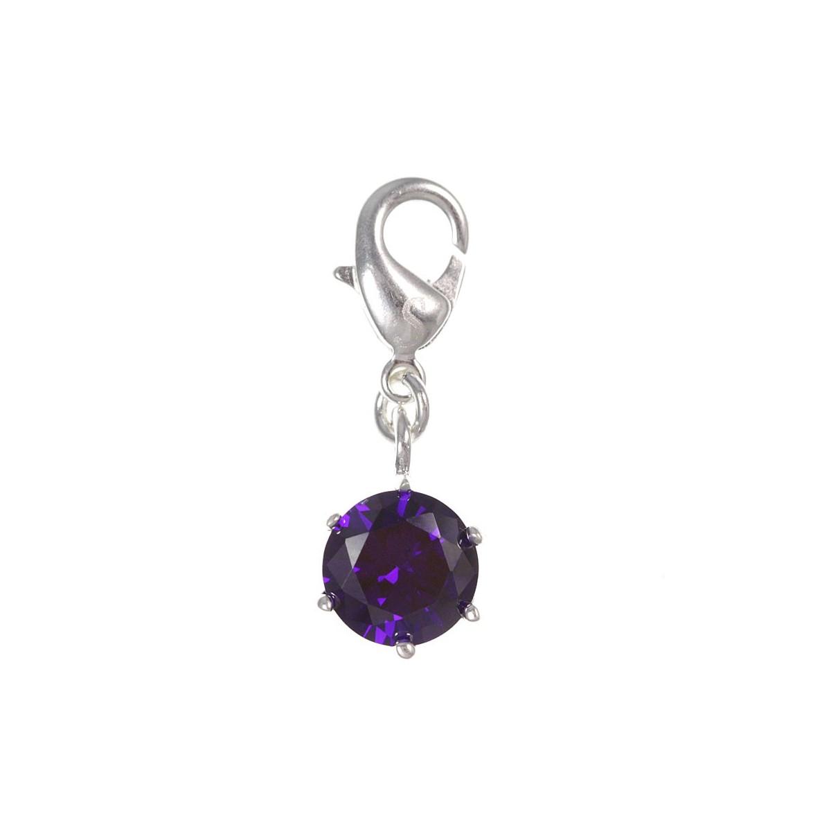 Charm cristal violet So Charm plaqué argent 3 microns