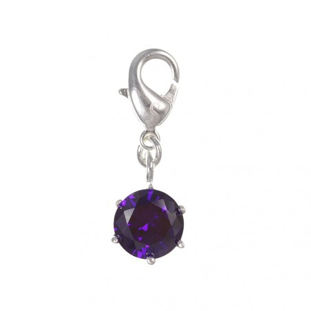 Charm cristal violet en argent 3µm
