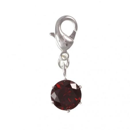 Charm cristal rouge en argent 3µm