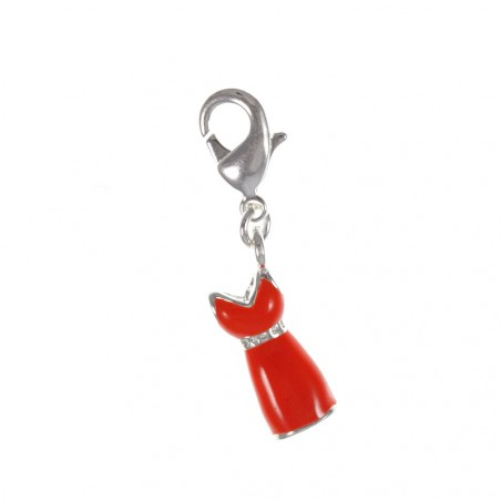 Charm robe rouge So Charm plaqué argent 3 microns