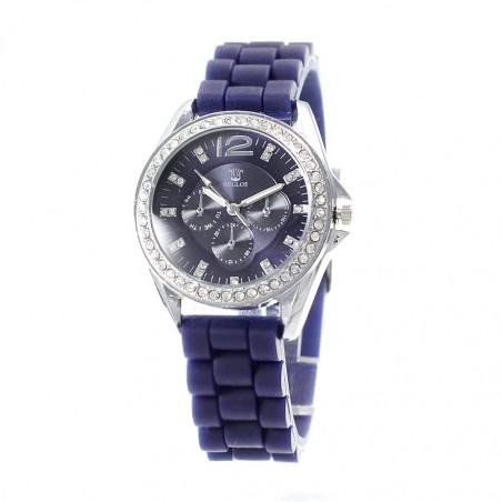 Montre bleue bracelet silicone