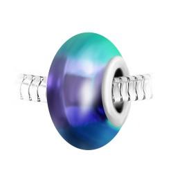 Charm perle bleue et acier...
