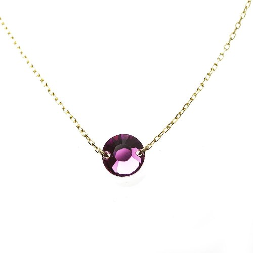 Collier plaqué or Belle Paris made with crystal from Swarovski violet
