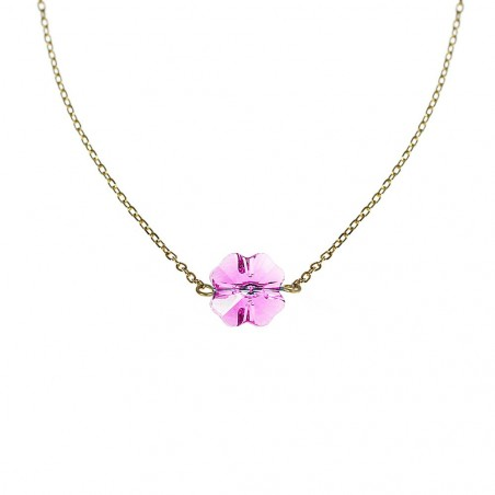 Collier Trèfle rose Belle Paris plaqué or made with crystal from Swarovski