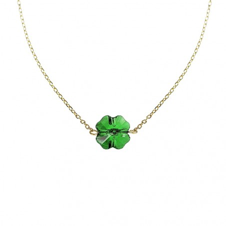 Collier Trèfle vert Belle Paris plaqué or made with crystal from Swarovski