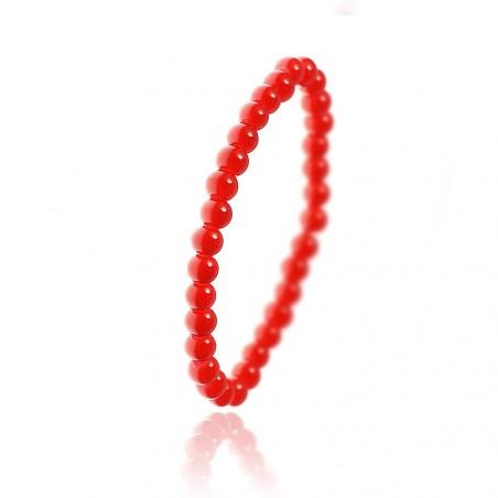 Bracelet orné de perles en verre rouge par So Charm