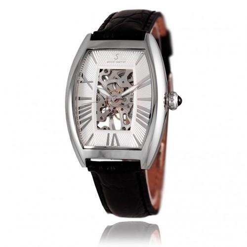 Montre homme mécanique acier argenté bracelet cuir