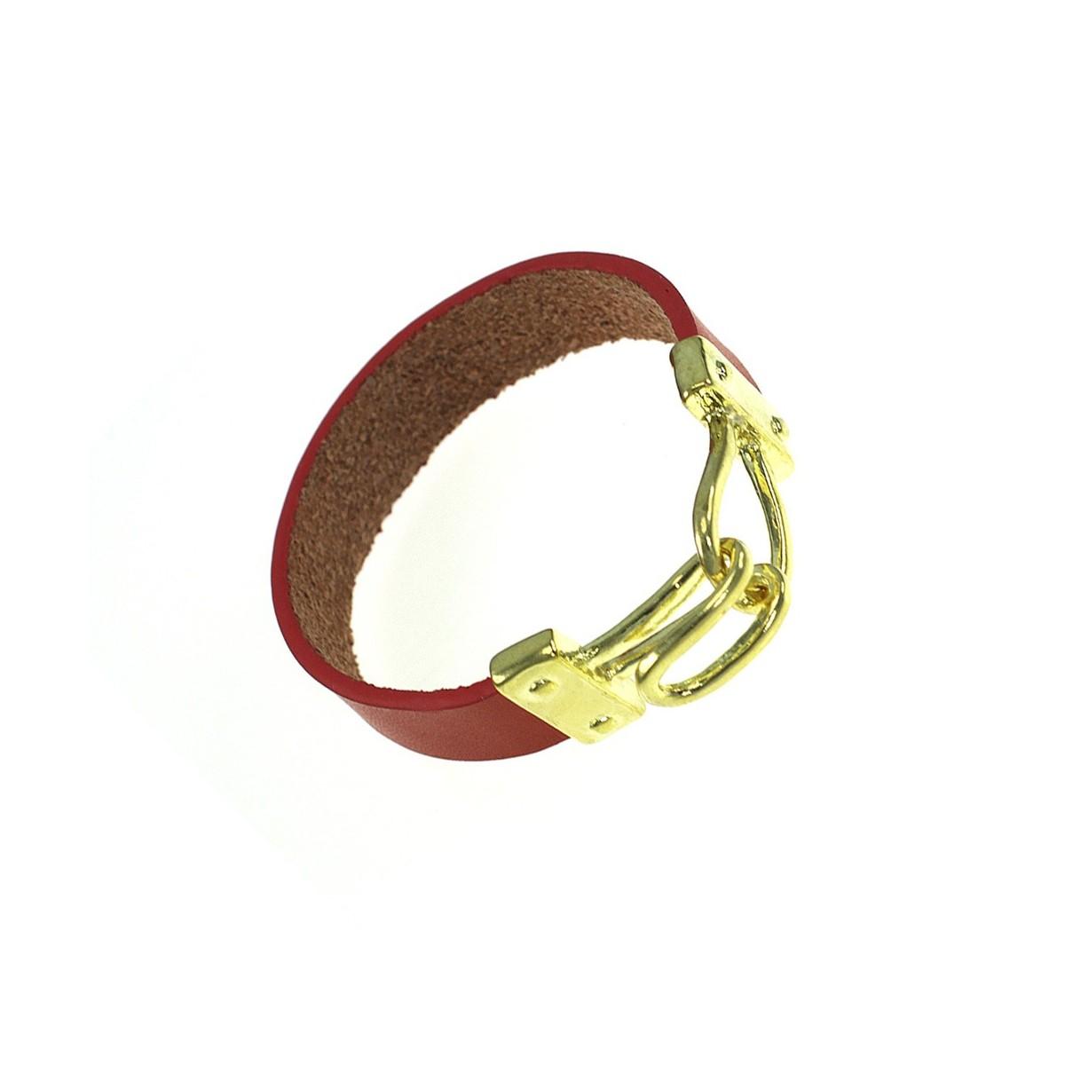 Bracelet en cuir véritable rouge