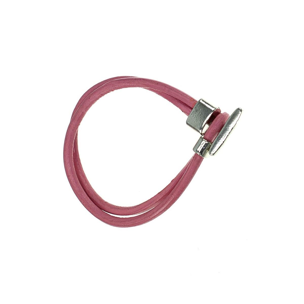 B314-ROSE Bracelet en cuir véritable rose