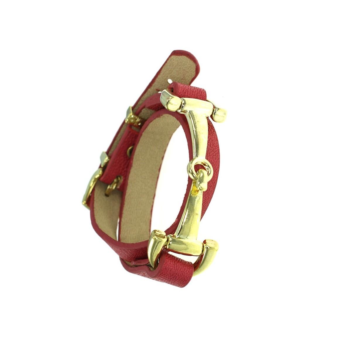 Bracelet métal et cuir véritable rouge