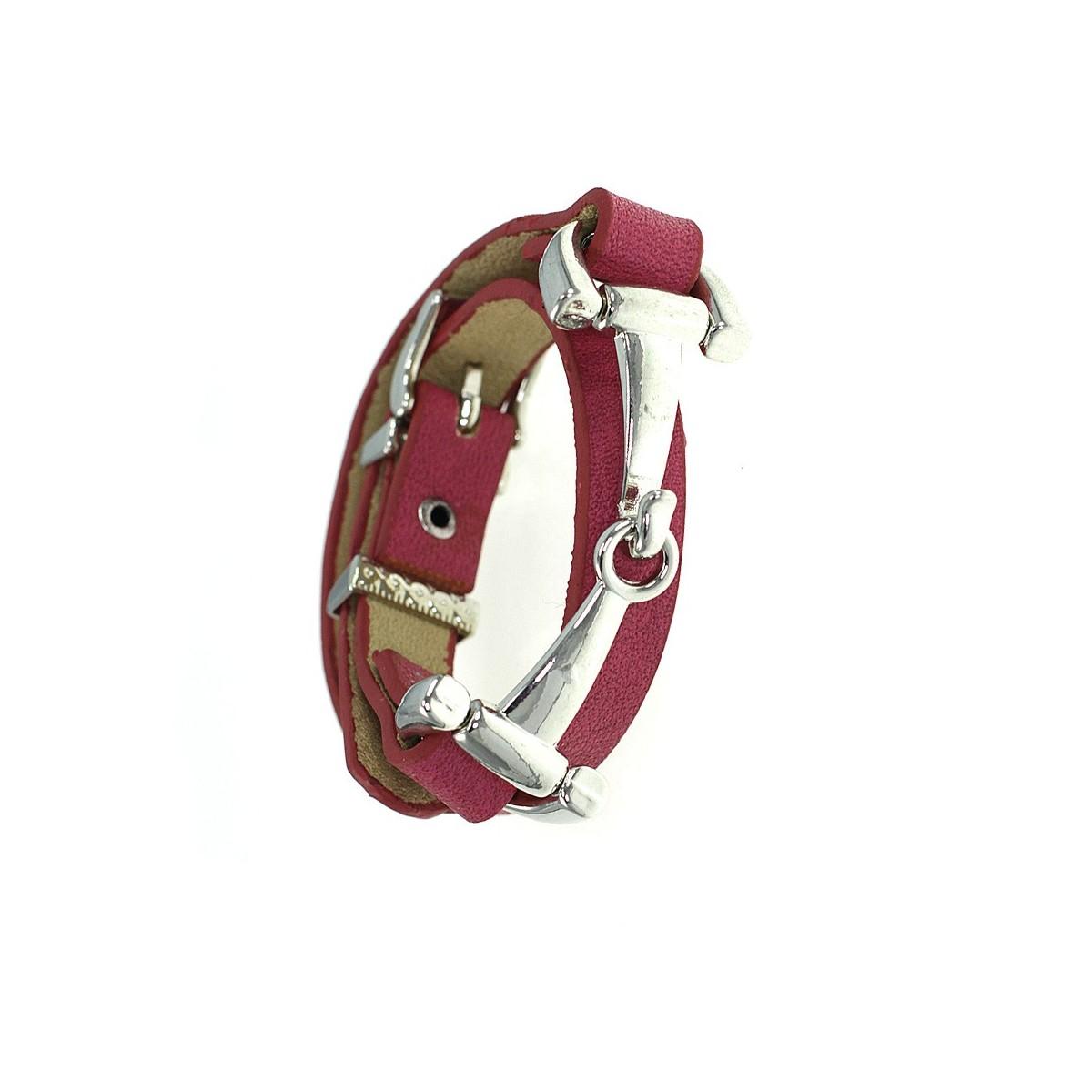 Bracelet métal et cuir véritable rose