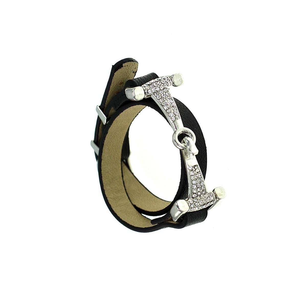 Bracelet femme en cuir véritable noir