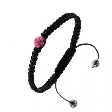 Bracelet shamballa en cristal de bohème rose