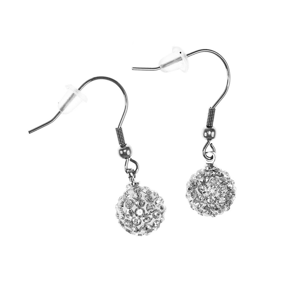 Boucles d'oreilles femme en cristal de bohème blanc