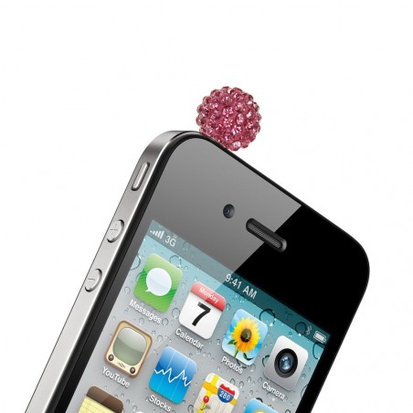 Bijou de protection téléphone prise jack rose