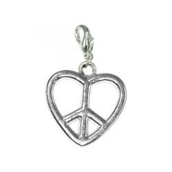 Breloque charm coeur peace
