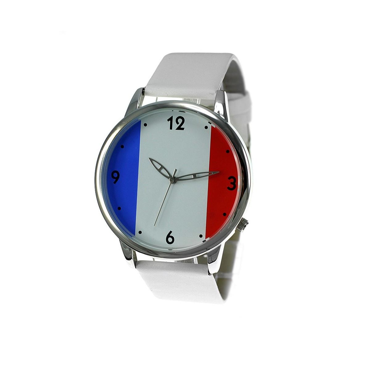 Montre drapeau francais bracelet façon cuir