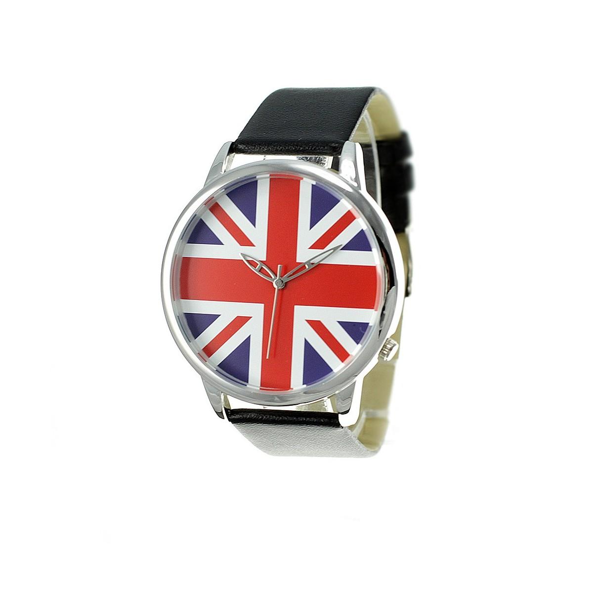 Montre drapeau anglais noir bracelet façon cuir