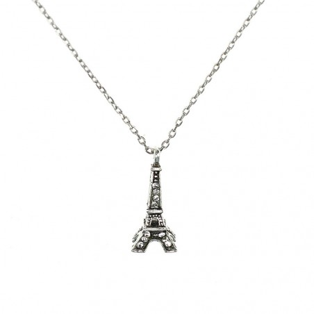 Collier Tour Eiffel blanche Belle Paris made with crystal from Swarovksi
