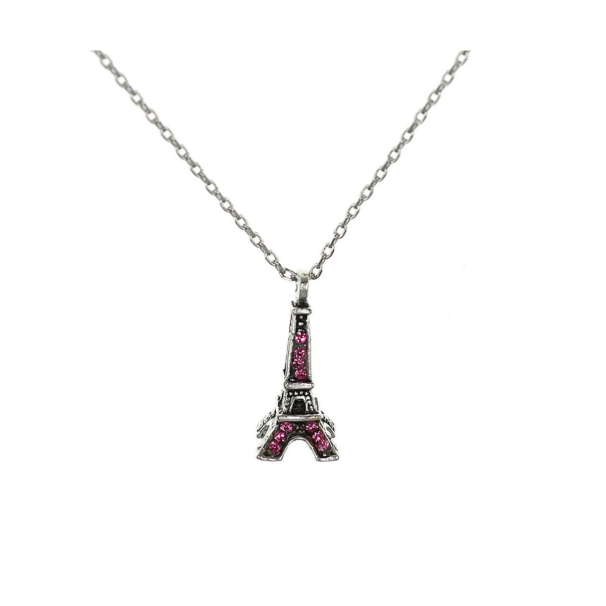 Collier Tour Eiffel rose Belle Paris made with crystal from Swarovksi
