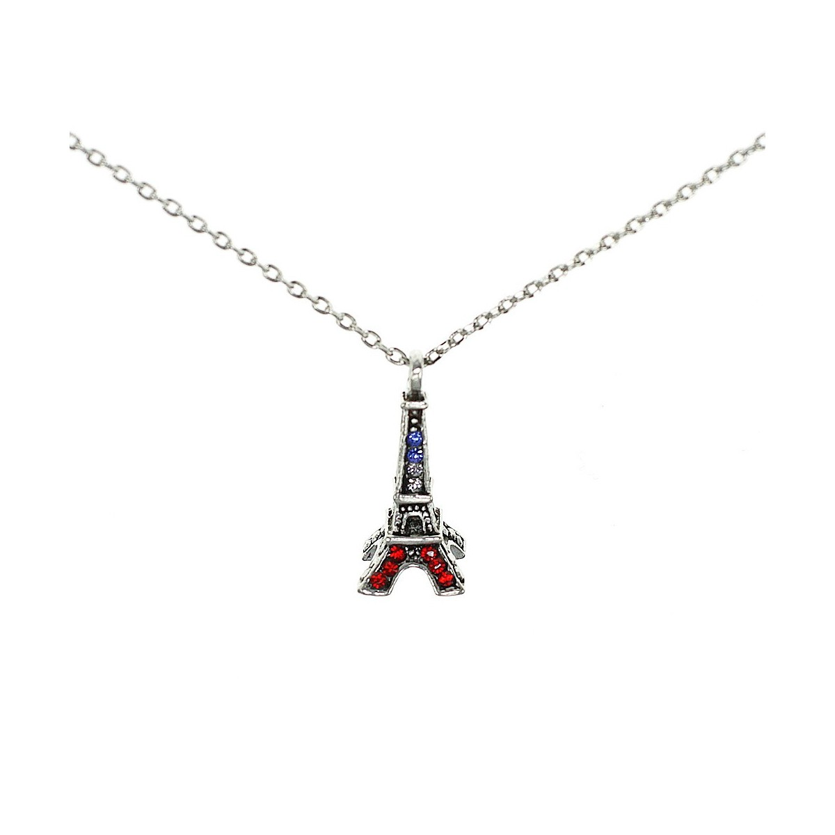 Collier Tour Eiffel tricolore Belle Paris made with crystal from Swarovksi
