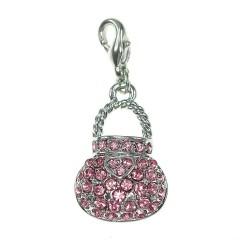 Charm sac à main rose