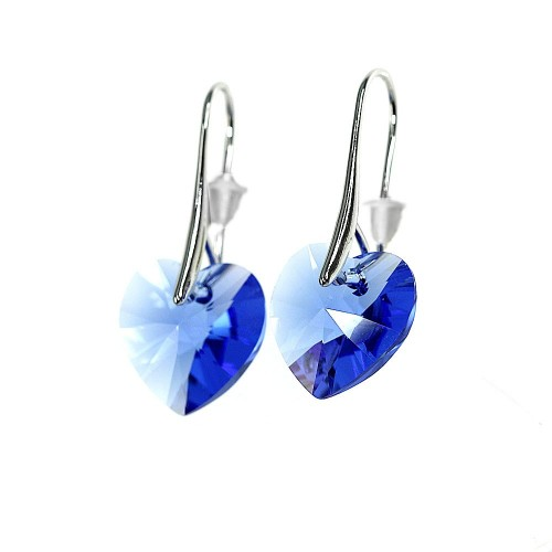 Boucles d'oreilles So Charm ornées d'un coeur bleu made with crystal from Swarovski