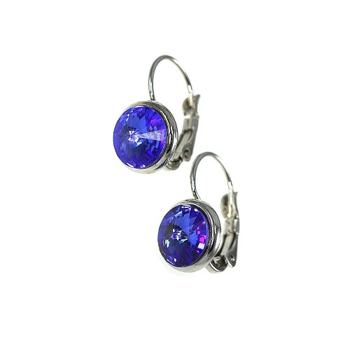Boucles d'oreilles So Charm made with Crystal from Swarovski bleu foncé