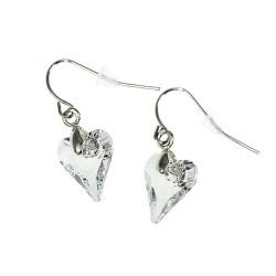 Boucles d'oreilles coeur blanc CESSY Paris ornées de SWAROVSKI® ELEMENTS