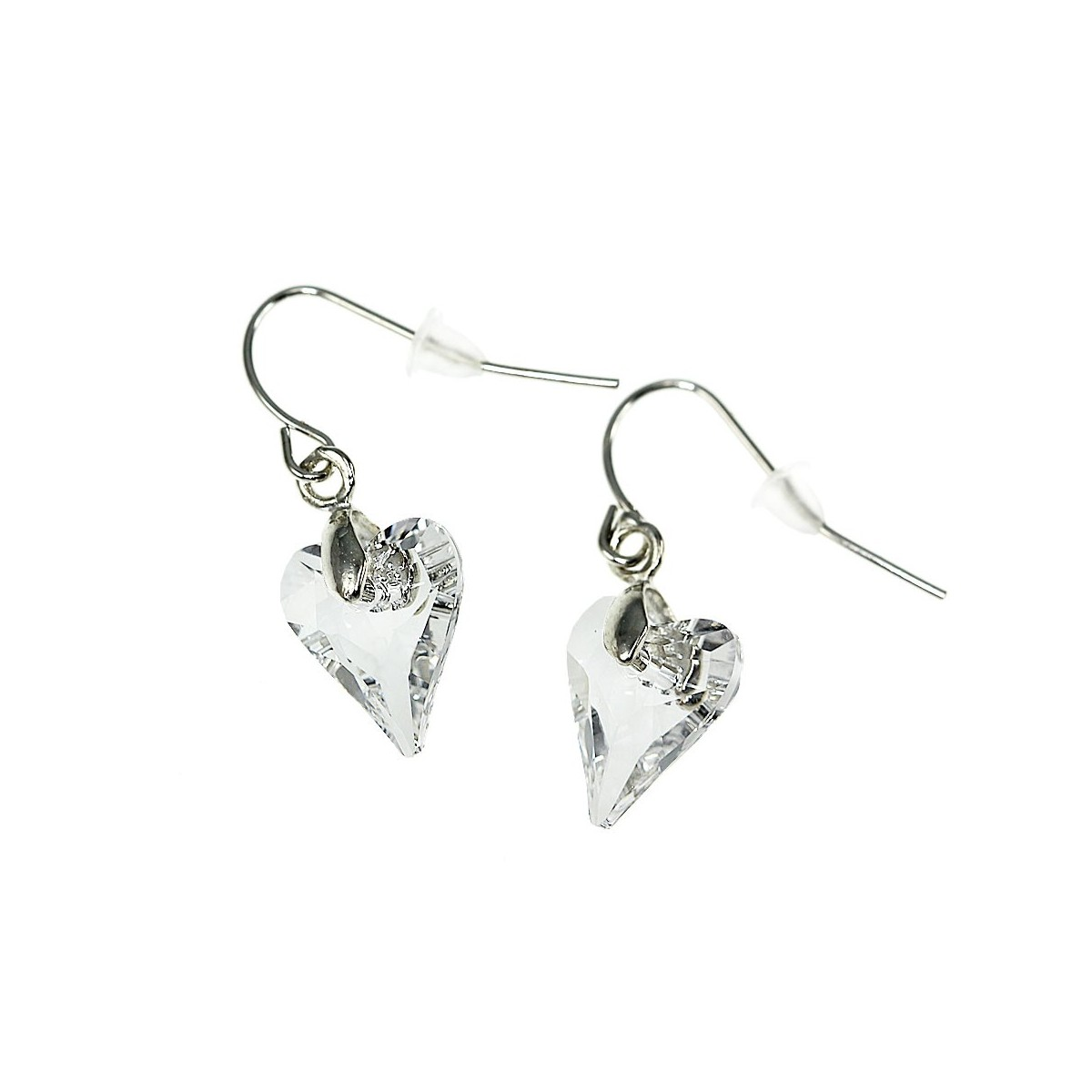 Boucles d'oreilles So Charm ornées d'un coeur blanc made with crystal from Swarovski