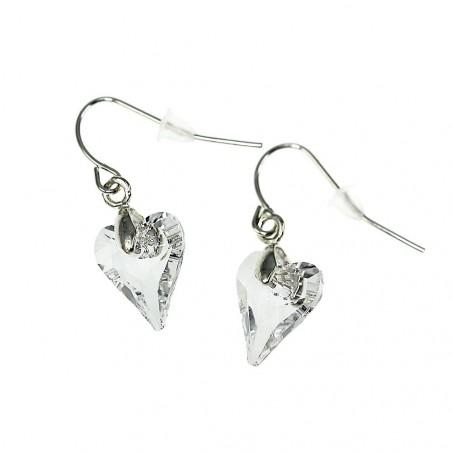 Boucles d'oreilles So Charm ornées d'un coeur blanc made with crystal from Swarovski
