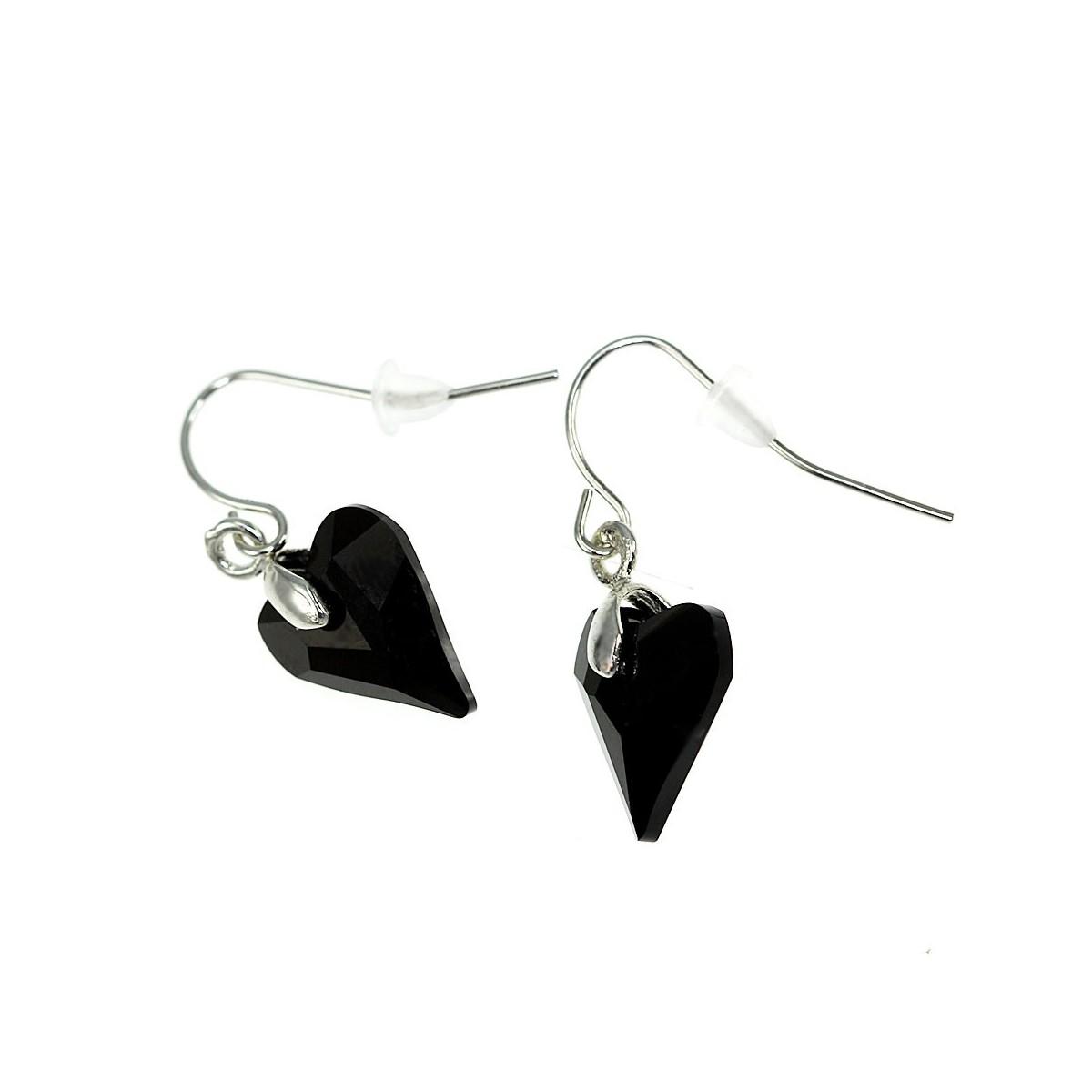 Boucles d'oreilles coeur noir CESSY Paris ornées de SWAROVSKI® ELEMENTS